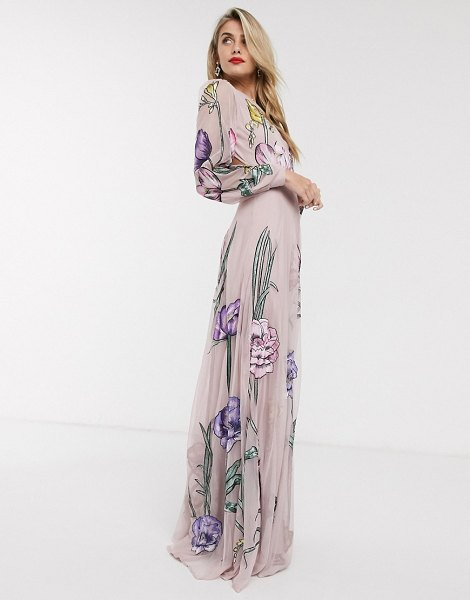 ASOS Edition maxi dress with cut out back and oversized floral embroidery-pink in pink