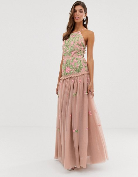 ASOS Edition meadow floral embroidered & sequin maxi dress with open back-pink in pink