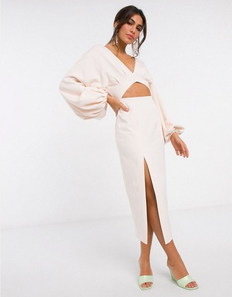 ASOS Edition midi pencil dress with volume sleeves-pink in pink
