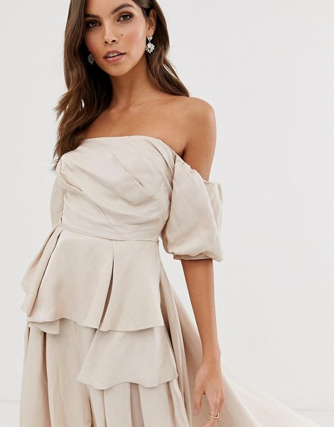 ASOS Edition off shoulder top with drape side in natural