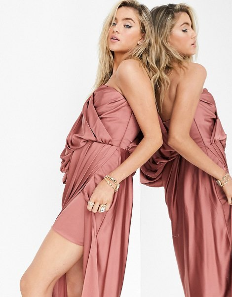 ASOS Edition one shoulder satin midi dress with corset detail in burnt rose-copper in copper