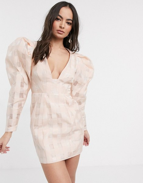 ASOS Edition organza check mini dress with extreme sleeve-pink in pink
