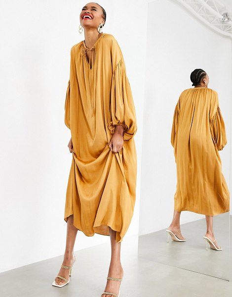 ASOS Edition oversized maxi dress with blouson sleeve in caramel-gold in gold