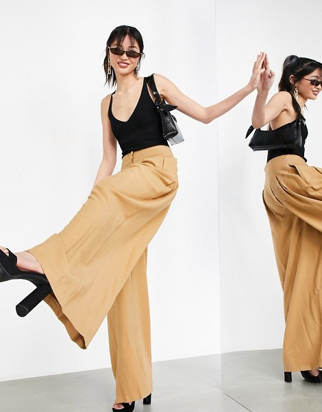 ASOS Edition pleat front wide leg pants in tobacco-brown in brown