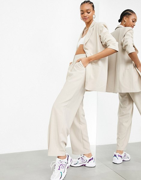 ASOS Edition pleated wide leg pants in stone-neutral in neutral
