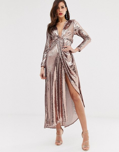 ASOS Edition plunge asymmetric maxi dress in sequin-gold in gold