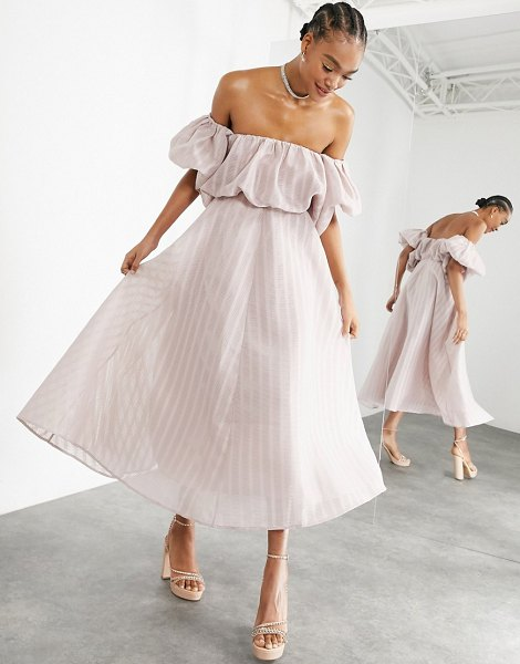 ASOS Edition puff off shoulder midi dress in blush-pink in pink