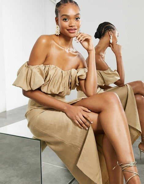 ASOS Edition puffball off shoulder coordinating top in caramel-neutral in neutral