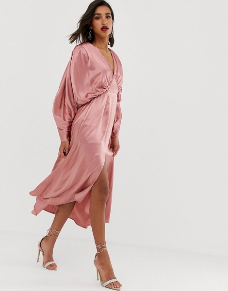 ASOS Edition ruched batwing midi dress in satin-pink in pink
