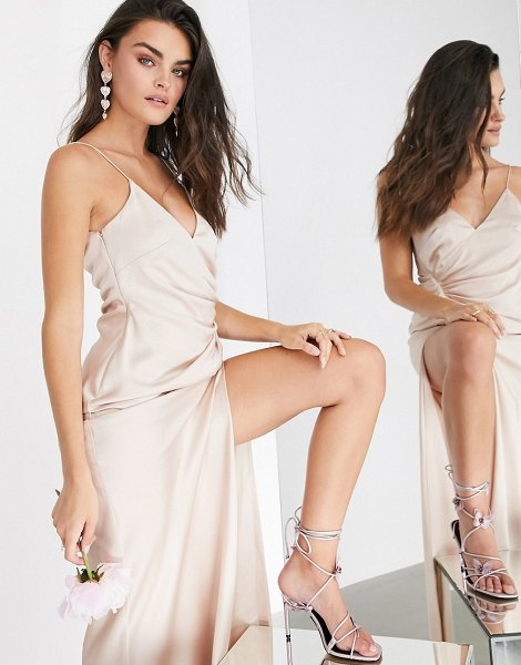 ASOS Edition satin cami maxi dress with drape detail in pink in pink