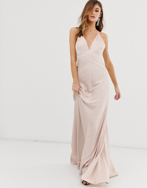 ASOS Edition satin paneled cami maxi dress-pink in pink