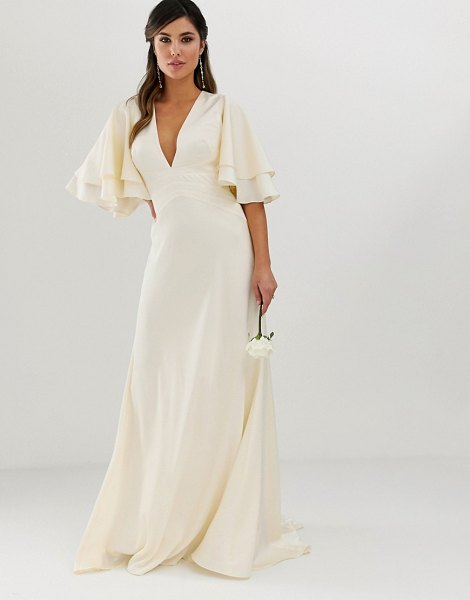 ASOS Edition satin paneled wedding dress with flutter sleeve-cream in cream