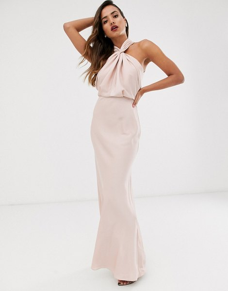 ASOS Edition satin ruched halter neck maxi dress in blush-pink in pink