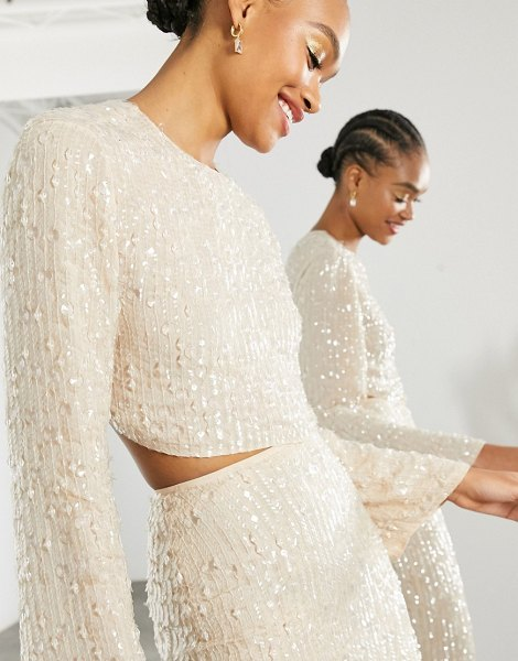 ASOS Edition sequin and crystal fringe top in cream in cream