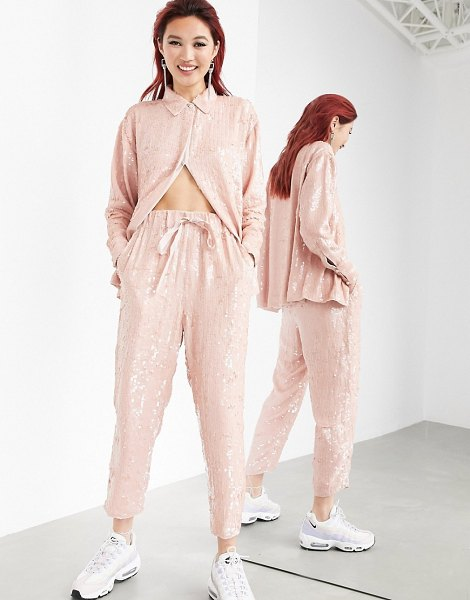 ASOS Edition sequin sweatpants set-pink in pink