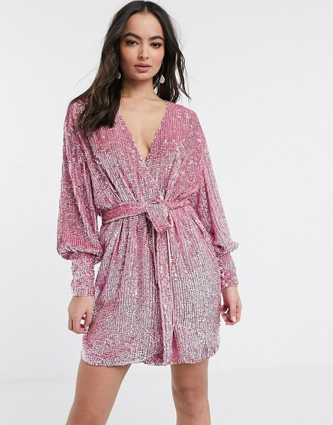 ASOS Edition sequin wrap mini dress-pink in pink