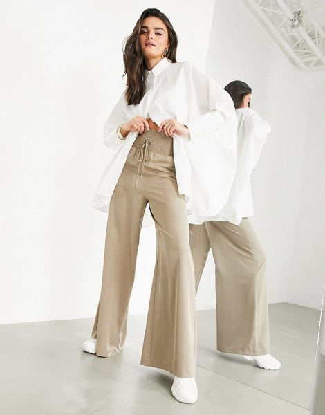 ASOS Edition wide leg shirred waist pants in sand-neutral in neutral