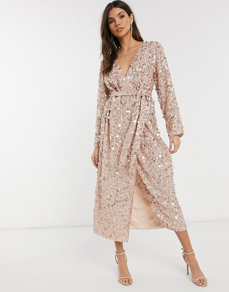 ASOS Edition wrap midi dress in disc sequin-pink in pink