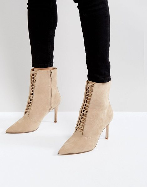 "Asos EGO Point Lace Up Boots in beige - """"Boots by ASOS Collection, Suede upper, Side-zip..."