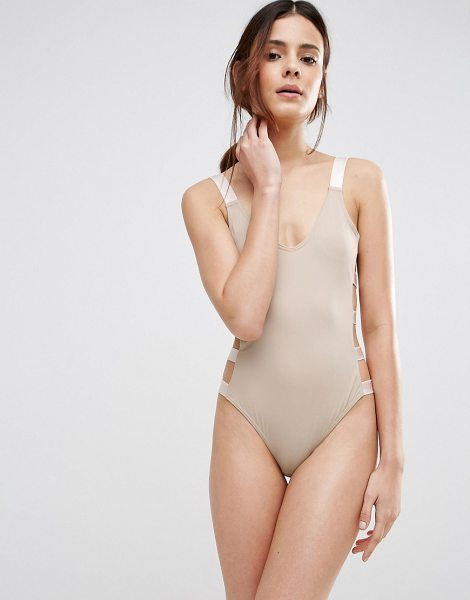 Asos Elastic Trim Strappy Side Swimsuit in beige - Swimsuit by ASOS Collection, Plain swim fabric, Scoop...