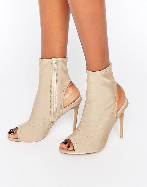 Asos ELECTRAN Shoe Boots in beige - Boots by ASOS Collection, Textile upper, Side zip...