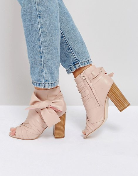"Asos ELENA Bow Boots in nude - """"Boots by ASOS Collection, Faux-leather upper, Side zip..."