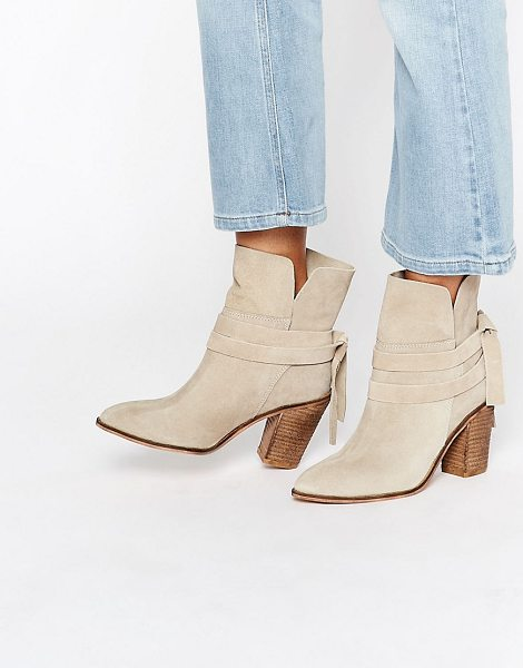 Asos ELISHIA Suede Slouch Ankle Boots in beige - Boots by ASOS Collection, Suede upper, Split cuff, Wrap...