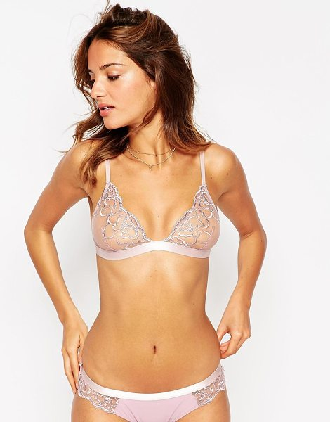 Asos Ellie Delicate Lace Triangle Bra in pink - Bra by ASOS Collection, Sheer embroidered lace,...