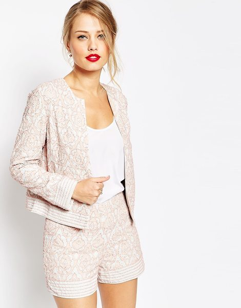 Asos Embellished blazer tile print co-ord in pink and blue print - Blazer by ASOS Collection Mid-weight, beaded fabric...