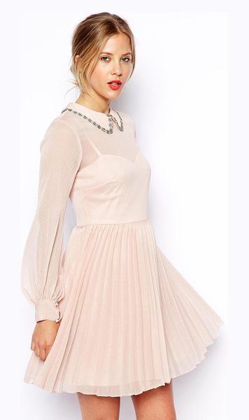 Asos Embellished collar pleat skater dress in nude - Hand Wash Only. Shell: 100% Polyester Lining: 100%...