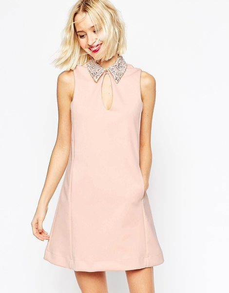 Asos Embellished Collar Scuba Shift Mini Dress in pink - Dress by ASOS Collection, Thick, scuba-style fabric,...