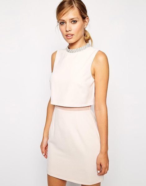 Asos Embellished collar stand dress in pink - Evening dress by ASOS Collection, Lightly textured...