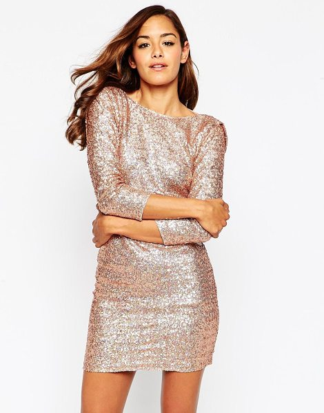 Asos Embellished cowl body-conscious mini dress in taupe - Evening dress by ASOS Collection Sequin embellished...