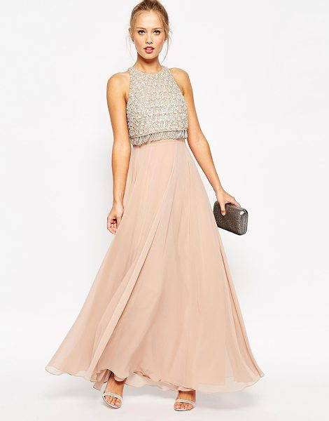 Asos Embellished crop top maxi dress in pink - Evening dress by ASOS Collection Lightly textured woven...