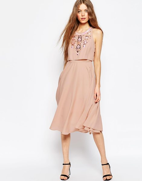 Asos Embellished Crop Top Midi Dress in pink - Midi dress by ASOS Collection, Woven fabric, Embellished...