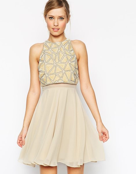 Asos All over embellished crop top skater dress in cream