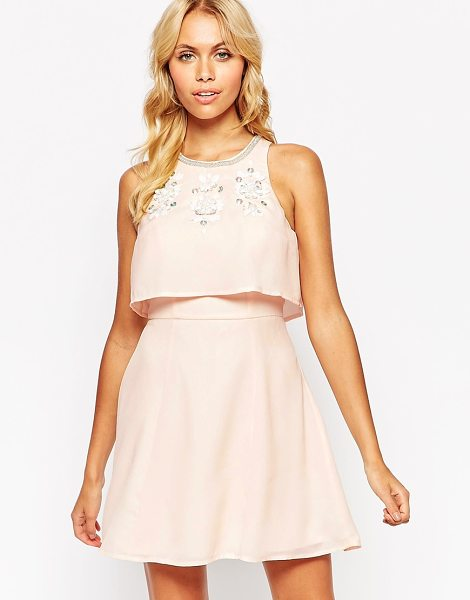 Asos Embellished crop top skater dress in nude - Dress by ASOS Collection Lightweight woven fabric...