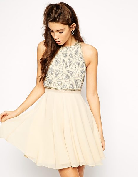 Asos All over embellished crop top skater dress in pink - Dress by ASOS Collection, 100% Polyester, Textured crepe...