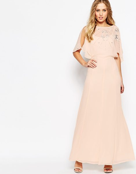 Asos Embellished Flutter Sleeve Maxi Dress in pink - Maxi dress by ASOS Collection, Woven chiffon, Fully...