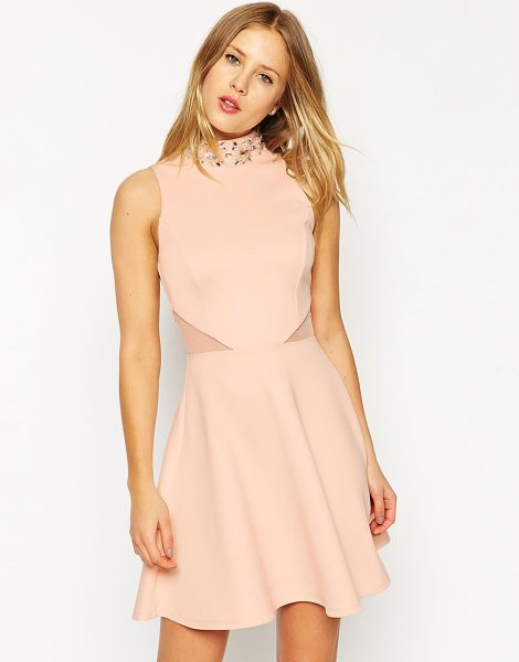 Asos Embellished high neck skater dress in pink - Skater dress by ASOS Collection, Lined stretch jersey,...