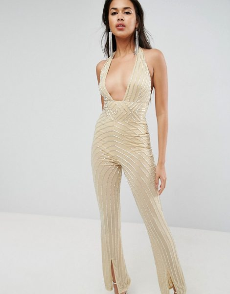 Asos Embellished Jumpsuit with Halter and Plunge Detail in nude - Jumpsuit by ASOS Collection, Plunge front, Boob tape...