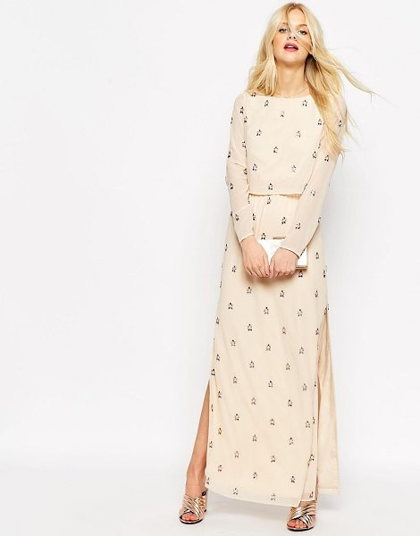 Asos Embellished Long Sleeve Crop Top Maxi Dress in pink - Maxi dress by ASOS Collection, Lightweight woven fabric,...