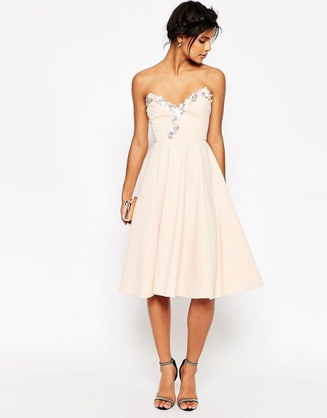 "Asos Embellished Midi Skater Dress in pink - """"Skater dress by ASOS Collection, Scuba-style fabric,..."
