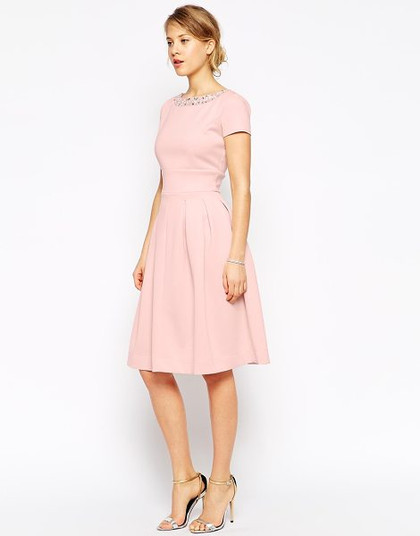 Asos Embellished neck trim midi dress in nude - Evening dress by ASOS Collection Smooth fabric Boat...