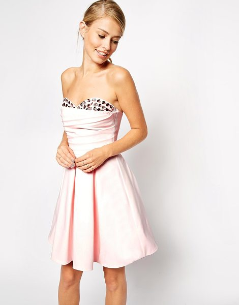 Asos Embellished peekaboo bandeau dress in pink - Dress by ASOS Collection, Soft touch, heavyweight...