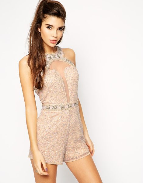 Asos Embellished playsuit with plunge detail in nude - Romper by ASOS Collection Heavily embellished mesh...