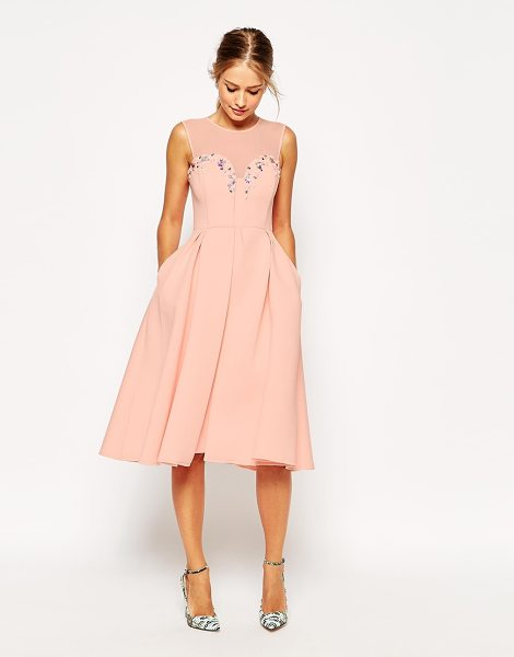 ASOS Embellished plunge scuba debutante dress - Dress by ASOS Collection Scuba-style knitted fabric...
