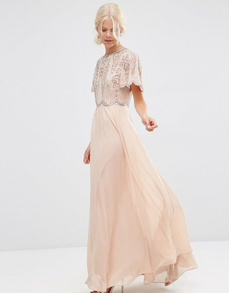 Asos Embellished Scallop Sleeve Maxi Dress in pink