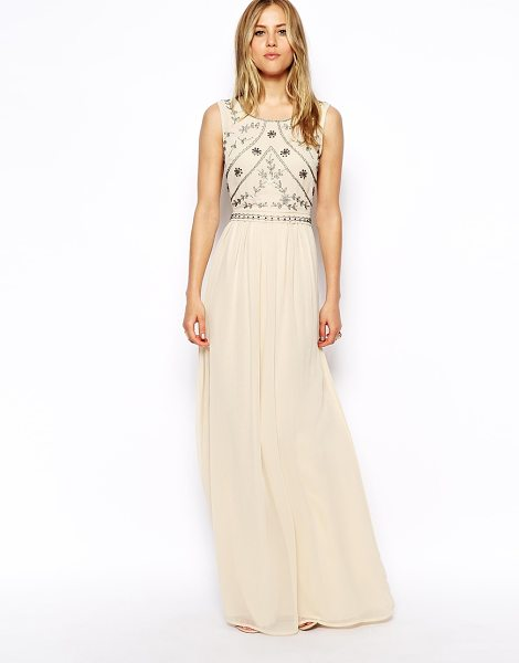 Asos Embellished shell maxi dress in nude - Evening dress by ASOS Collection Made from a breathable...