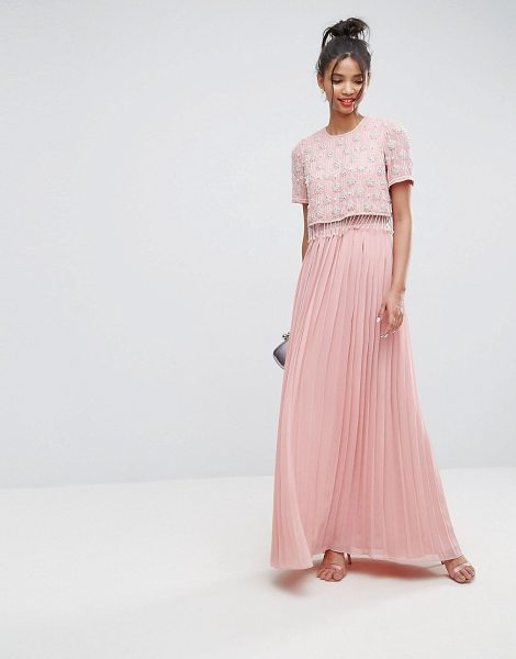 "Asos embellished short sleeve pleated maxi dress in pink - """"Maxi dress by ASOS Collection, Lined woven fabric,..."